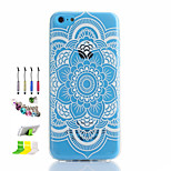 Datura Flowers Pattern Thin Transparent Hollow TPU Phone Case And Dust Plug Stylus Pen Stand Combination for iPhone 5C