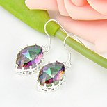 Newest Gift Horse Eye Shaped Fire Mystic Topaz Gem 925 Silver Drop Earrings For Wedding Party Daily Holiday 1Pairs