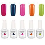 Gelpolish Nail Art Soak Off UV Nail Gel Polish Color Gel Manicure Kit 5 Colors Set S124
