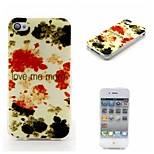 COCO FUN® Ink Safflower Pattern Soft TPU IMD Back Case Cover for iPhone 4/4S
