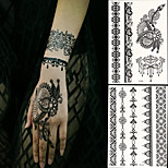 2 PC BlackLace Hena Body Tattoos Sticker For Girls,Women W306-310