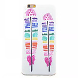 Feather Color Pattern TPU Painted  Soft Back Cover for iPhone 6