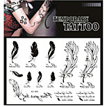 Tattoo Stickers Non Toxic/Pattern/Lower Back/Waterproof Animal Series Adult Black Paper 1 17*16 Feather