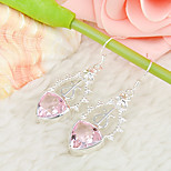 Newest Gift Triangle Shaped Fire Pink Topaz Gem 925 Silver Drop Earrings For Wedding Party Daily Holiday 1Pairs