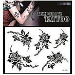 Tatuaggi adesivi - Serie fiori Adulto - 1 - Modello - di Carta - 17*16 - Nero/Verde - Non Toxic/Fantasia/Fascia lombare/Waterproof
