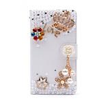 rhinestone diamantes de perlas de cristal borla corona caso de la cubierta de cuero de la PU con el pie de apoyo y ranura para tarjeta