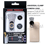 4 in 1 mobile phone lens/ optical glass lens/180° fisheye+0.67x wide angle lens +8x telephoto lens+ macro lens