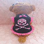 Holdhoney Black And Pink Edge With Skull Heart Cotton Vest For Pets Dogs (Assorted Sizes) #LT15050106