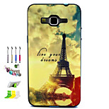 Tower Pattern Combo Material Phone Case And Support Dust Plug Stylus Pen for Samsung Galaxy Grand Prime G530H