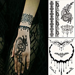 2 PC BlackLace Hena Body Tattoos Sticker For Girls,Women W306-313