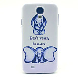 Don't Worry Be Happy Elephant Pattern PC Hard Case for Samsung Galaxy S4 I9500 Back Cover