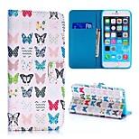 patrón de mariposas coloreada textura cruz estilo de la carpeta del soporte de TPU + caja de cuero de la PU para el iphone 6 más