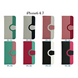 Color Circle Buckle Bracket Wallet PU Leather Full Body Case for IPhone 6(Assorted Colors)