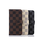Grid pattern Around Open Grain Leather with Standoff for IPhone 6 plus(Assorted Colors)