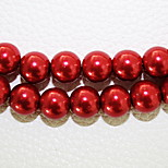 Beadia 3 Str(approx 580pcs) 4mm Round Glass Pearl Beads Red Color DIY Spacer Loose Beads