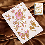 Discoloration Tattoo Butterfly Flower Sunlight will Change Color Tattoo Stickers Temporary Tattoos(1 Pc)