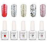 Gelpolish Nail Art Soak Off UV Nail Gel Polish Color Gel Manicure Kit 5 Colors Set S139