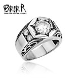 Beier® 316L Stainless Steel Crystal Men's White Stone Wedding Ring High Quality Us Size 7 8 9 10 11