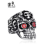 Beier® Stainless Steel Ring Red Eye Tripple Skull Ring for Man Biker Jewelry