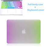 High Quality Rainbow Slim Flip Full Body Hard Case and TPU Keyboard Cover for Macbook Retina 15.4 inch
