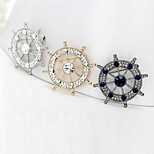 Inlay Diamond Rudder Brooch (1Pc)