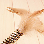 Hand-Woven Natural Straw Design with Feather Interative Toys for  Cats