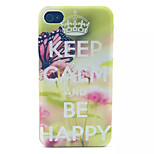 Butterfly Pattern Transparent Frosted PC Back Cover For  iPhone 4/4S