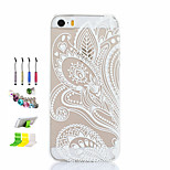 White Printing Pattern Thin Transparent Hollow PC Phone Case And Dust Plug Stylus Pen Stand Combination for iPhone 5/5S