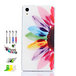 Half Flower Pattern Slim TPU Material Soft Phone Case And Dust Plug Stylus Pen Stand Combination for Sony Z2