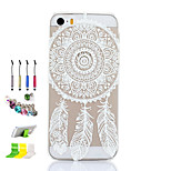 Dreamcatcher Pattern Thin Transparent Hollow PC Phone Case And Dust Plug Stylus Pen Stand Combination for iPhone 5/5S
