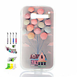 Balloon Pattern Painted Soft Phone Case And Dust Plug Stylus Pen Stand Combination for Alcatel C5