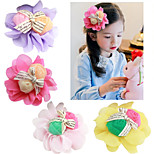4Pcs DIY Double Rose Chiffon Flower with Alligator Clipfor Headbands, Scrapbooking and More Decoration(Random Delivery)