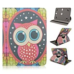 Owl Pattern 360 Rotation Magnetic Flip Stand Universal PU Leather Case with Elastic Belt for 8 Inch Tablet PC