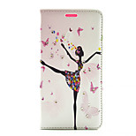 Butterfly Girl Dance Ballet Pattern Diamond Wallet Style PU Leather with Card Slot Case for LG G4