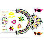 1 PC Fluorescent Color Necklace Tattoos Stickers  for Body Makeup W324