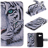 White Tiger Design PU Leather Full Body Case with Stand and Protective Film for HTC One M8 Mini