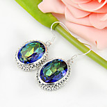 Sparkling Gift for Friend Fire Rainbow Mystic Topaz Gem 925 Silver Stud Earrings For Wedding Party Daily Holiday 1Pairs