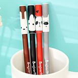 Bonjour Animal Black Ink Gel Pen(Random Color)