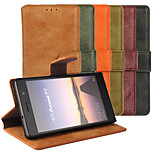Plain Leather Wallet Card PU Case with Stand for Huawei P7(Assorted Colors)