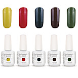 Gelpolish Nail Art Soak Off UV Nail Gel Polish Color Gel Manicure Kit 5 Colors Set S125