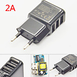 2A 3 Ports EU Plug USB Wall Travel AC Charger Adapter For Samsung And IPhone