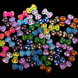N126 100pcs/set Cute Colorful Bow Acrylic Nail Sticker DIY Nail Design Fashion Nail Phone Bag Dress Accessory