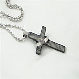 Fashion Simple Cross Titanium-Steel Pendant(Black)(1Pc)