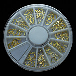 W100 60pcs/Set Fashion Mix Hollow Golden Metal Slice Nail Art Wheel Set Star Moon Flowers Shape for DIY Nail Accessories