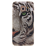 vit tiger mönster TPU mjuk väska till Samsung Galaxy s6 kant