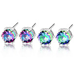 Classic Round Fire Round Rainbow Mystic Topaz Gem 925 Silver Stud Earrings For Wedding Party Daily Holiday 1Pairs