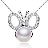 Z&X® 925 Silver Plated Butterfly Fresh Water Pearl Pendants Without Chain Party/Daily