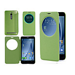 IVSO ASUS Zenfone 2 (ZE551ML/ZE550ML) 5.5 inch Case - Gold Sand Window View Style High Quality Case (Green)