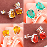 Sparkling Friend Gift Fire Green Red Quartz Citrine Gem 925 Silver Stud Earrings For Wedding Party Daily Holiday 1Pairs