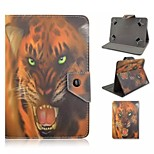 Leopard Pattern Magnetic Flip Stand Universal PU Leather Case with Elastic Belt for 7 Inch Tablet PC